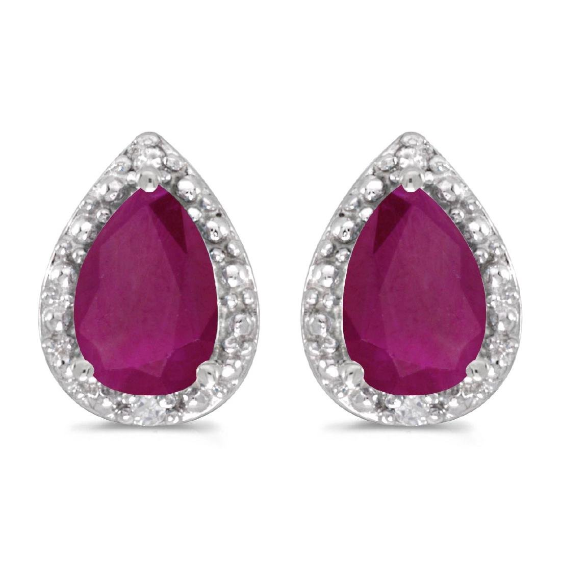 Certified 10k White Gold Pear Ruby And Diamond Earrings