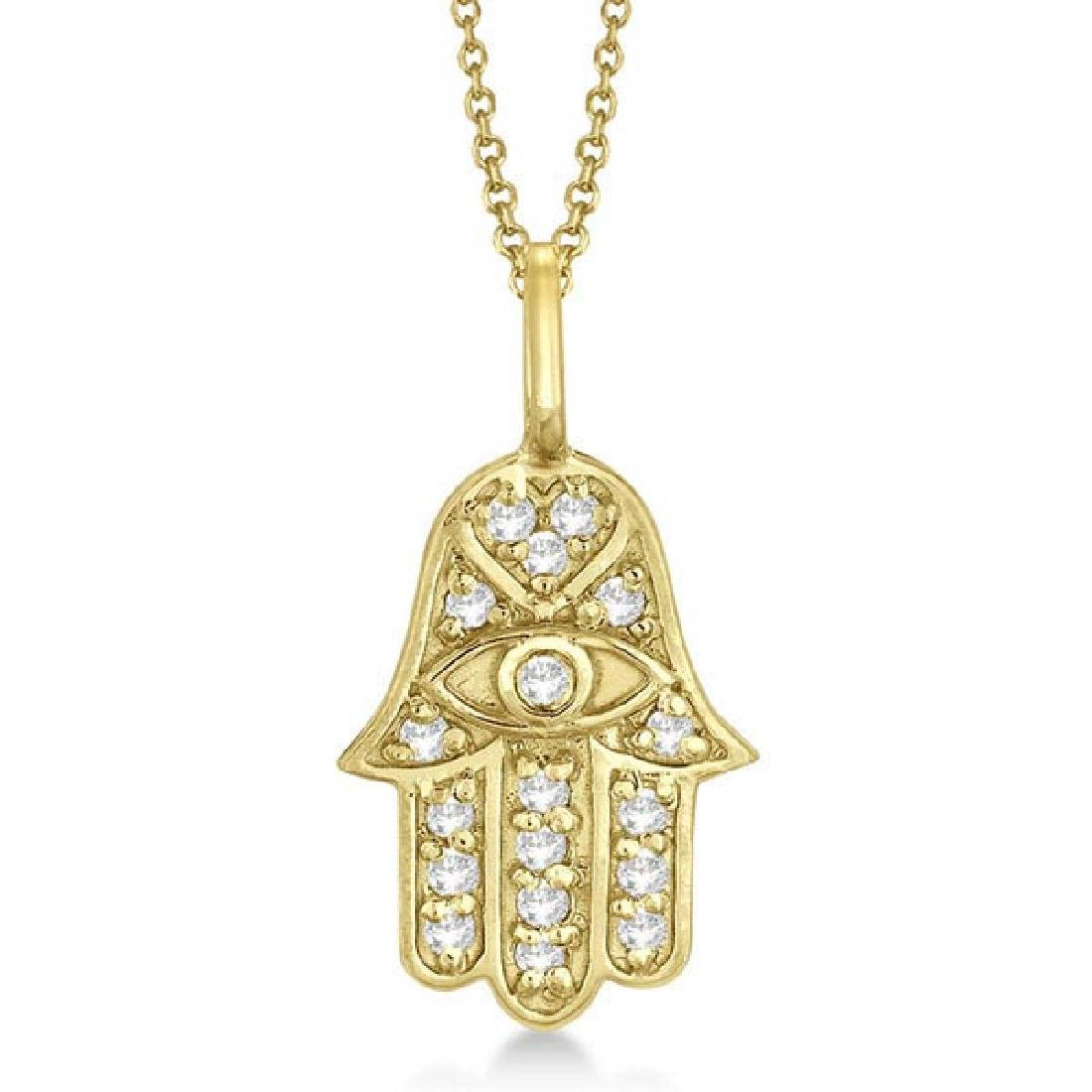 Diamond Hamsa Pendant Necklace 14k Yellow Gold (0.16ct)