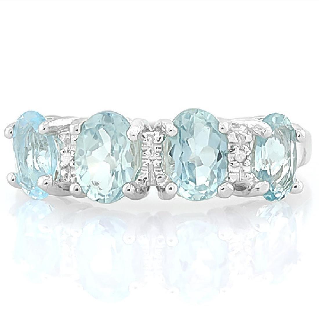 9 1/5 CARAT BABY SWISS BLUE TOPAZ & DIAMOND 925 STERLIN