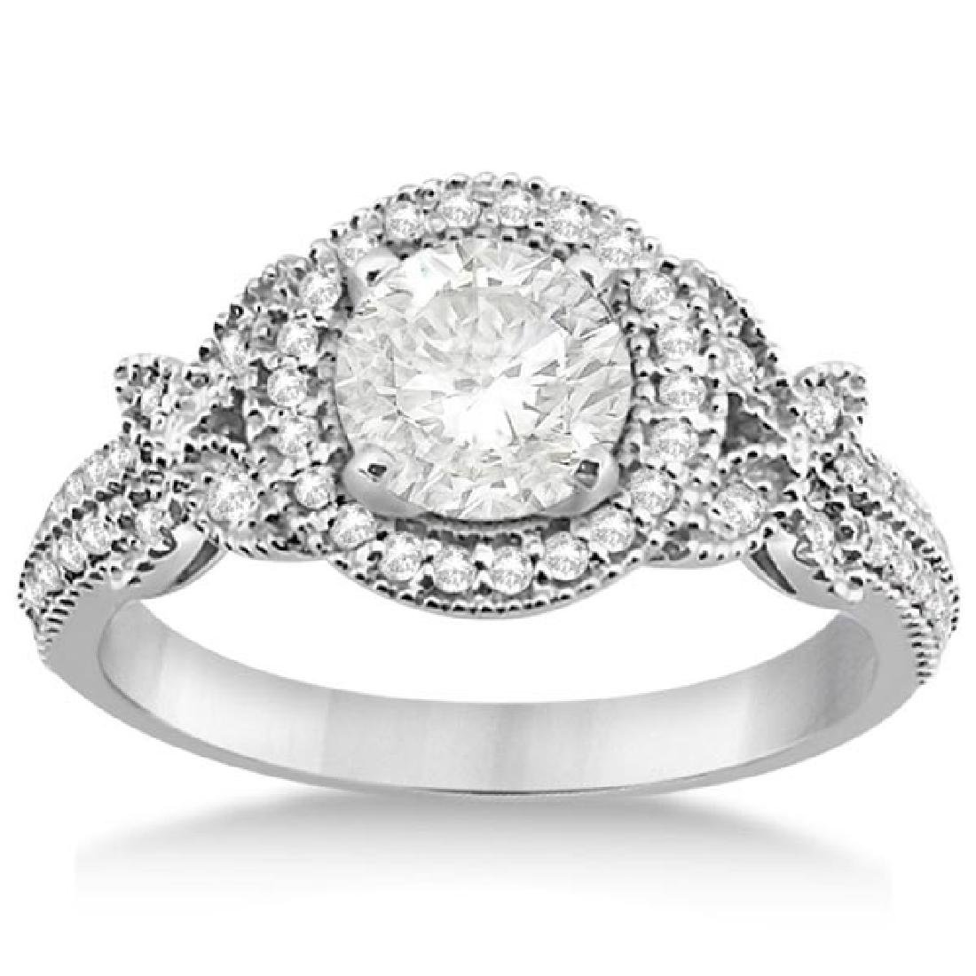 Diamond Butterfly Engagement Ring 14k White Gold