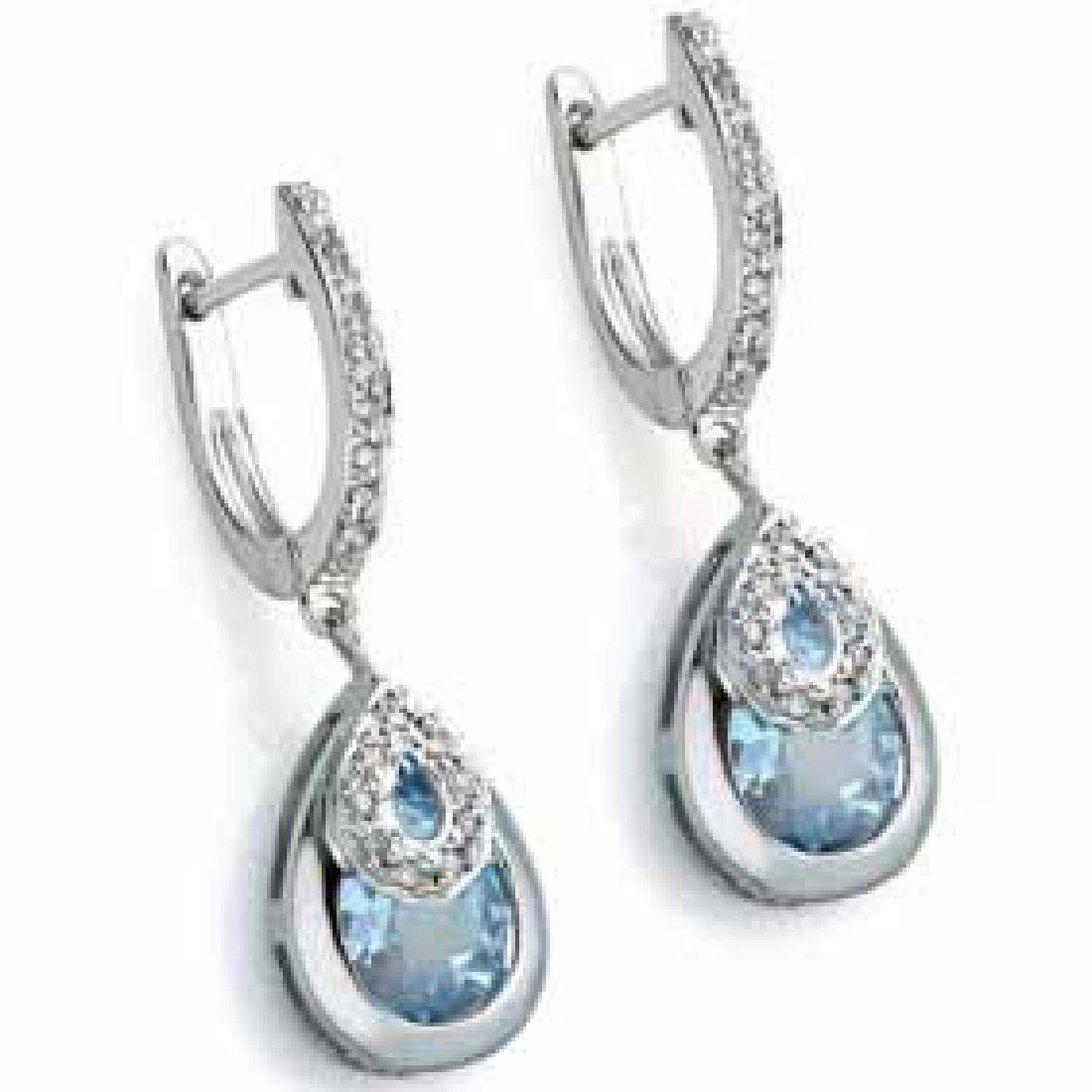 3.80 CT BLUE TOPAZ & 2PCS GENUINE DIAMOND PLATINUM OVER