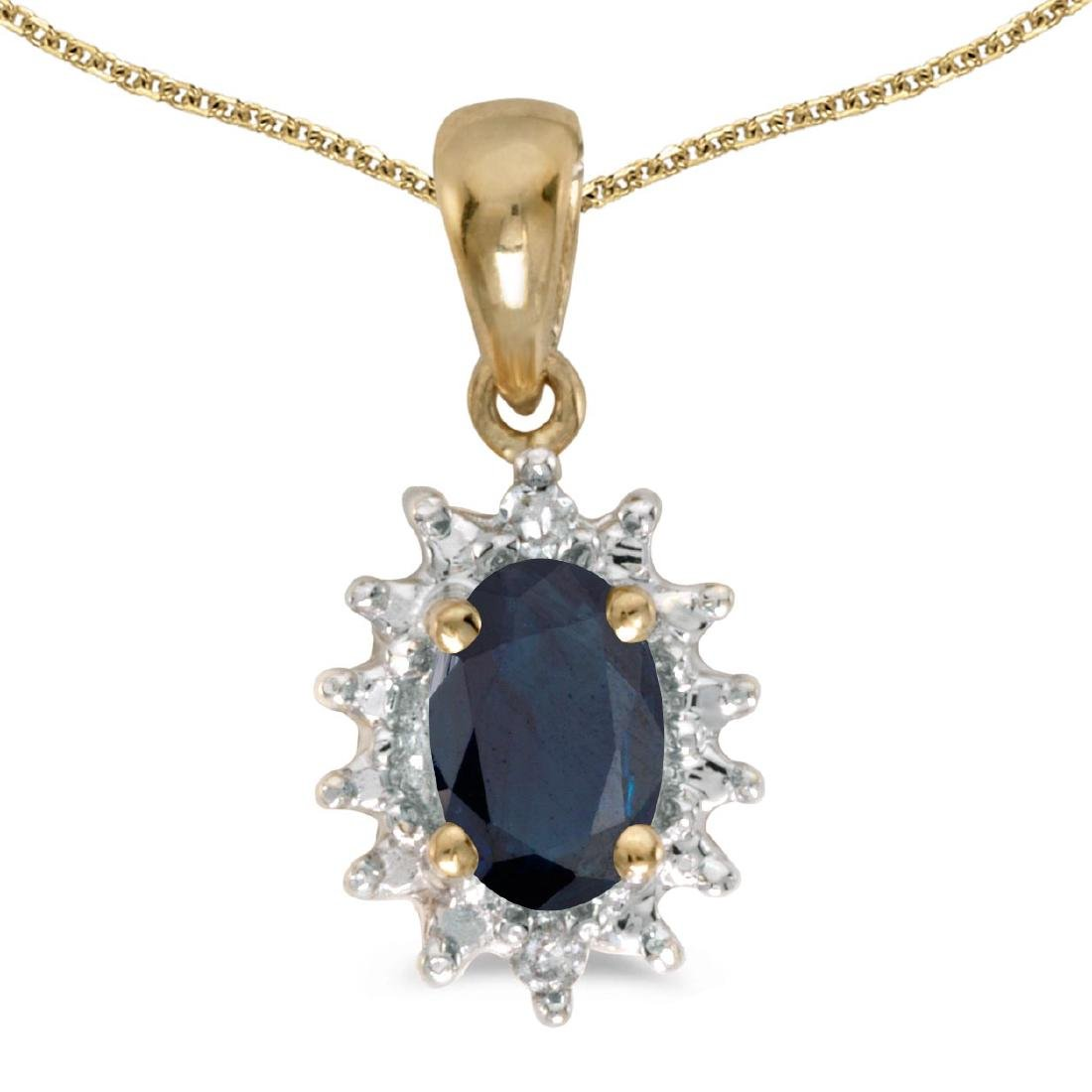 Certified 10k Yellow Gold Oval Sapphire And Diamond Pen