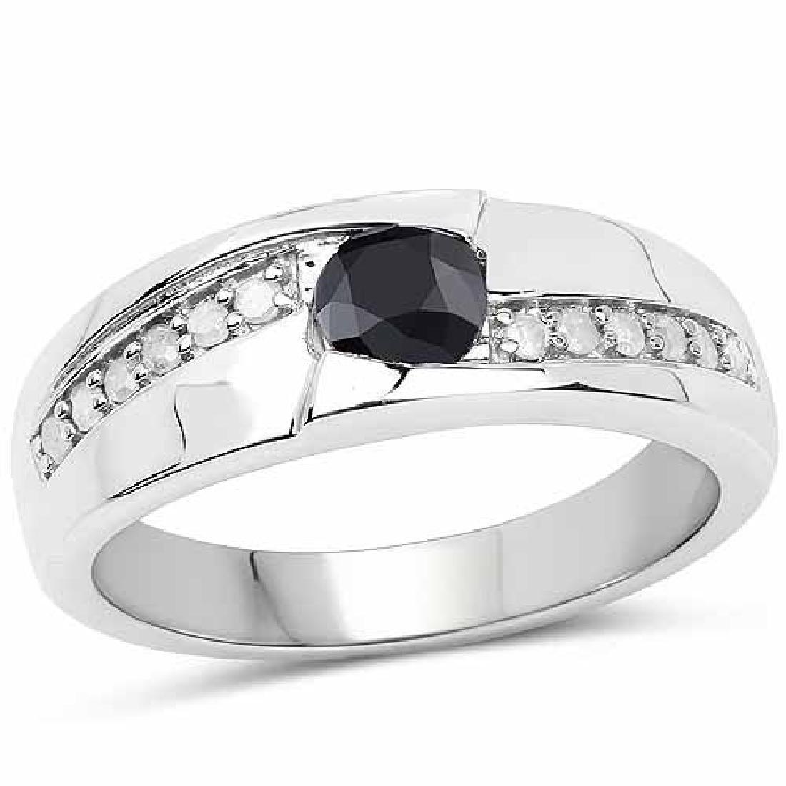 0.68 Carat Genuine Black Diamond and White Diamond .925