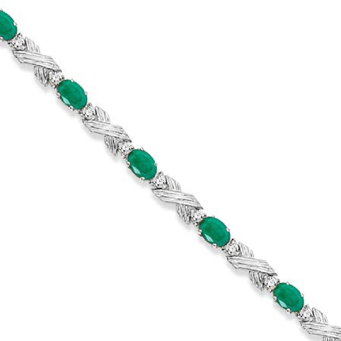 Emerald and Diamond XOXO Link Bracelet in 14k White Gol