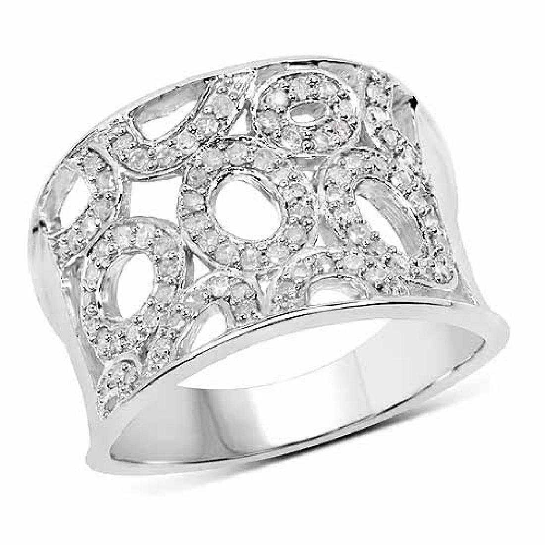 0.50 Carat Genuine White Diamond .925 Sterling Silver R