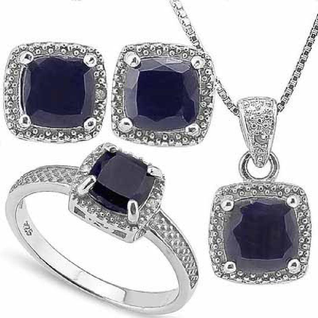 4 3/5 CARAT BLACK SAPPHIRE & DIAMOND 925 STERLING SILVE