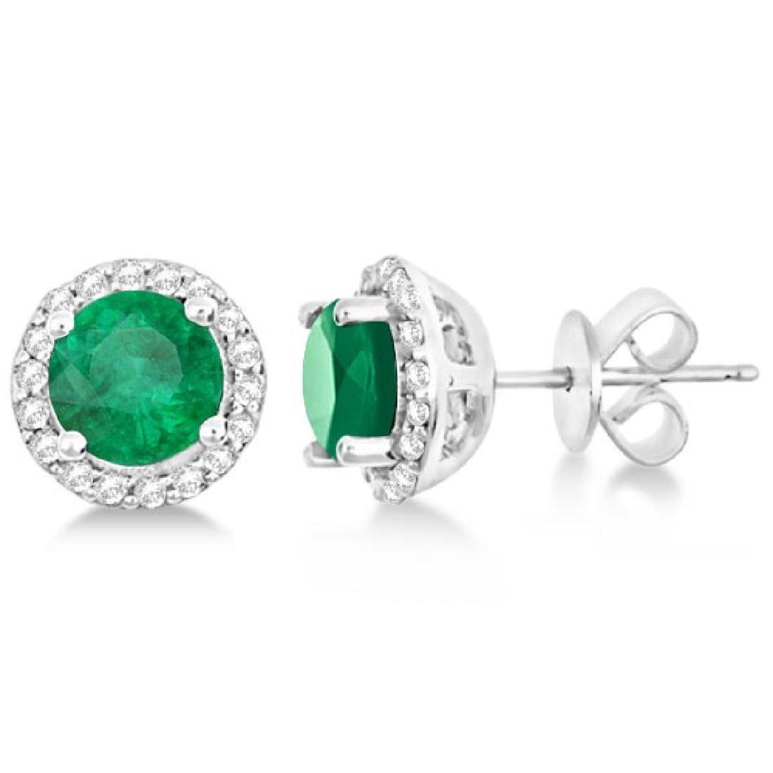 Ladies Emerald and Diamond Halo Stud Earrings in Sterli