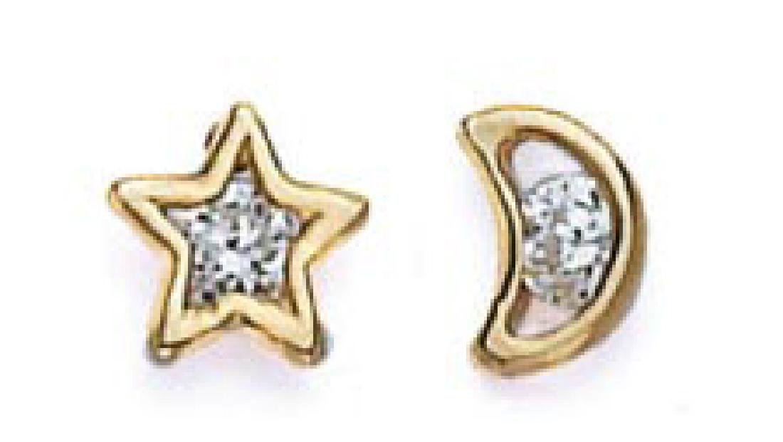 14k Yellow Gold Star and Moon