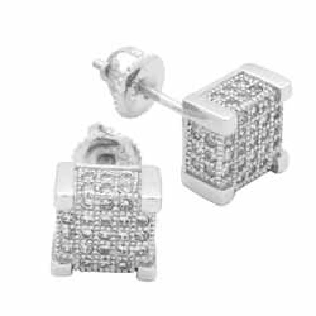STERLING SILVER CZ MICROPAVE SQUARE STUD EARRINGS