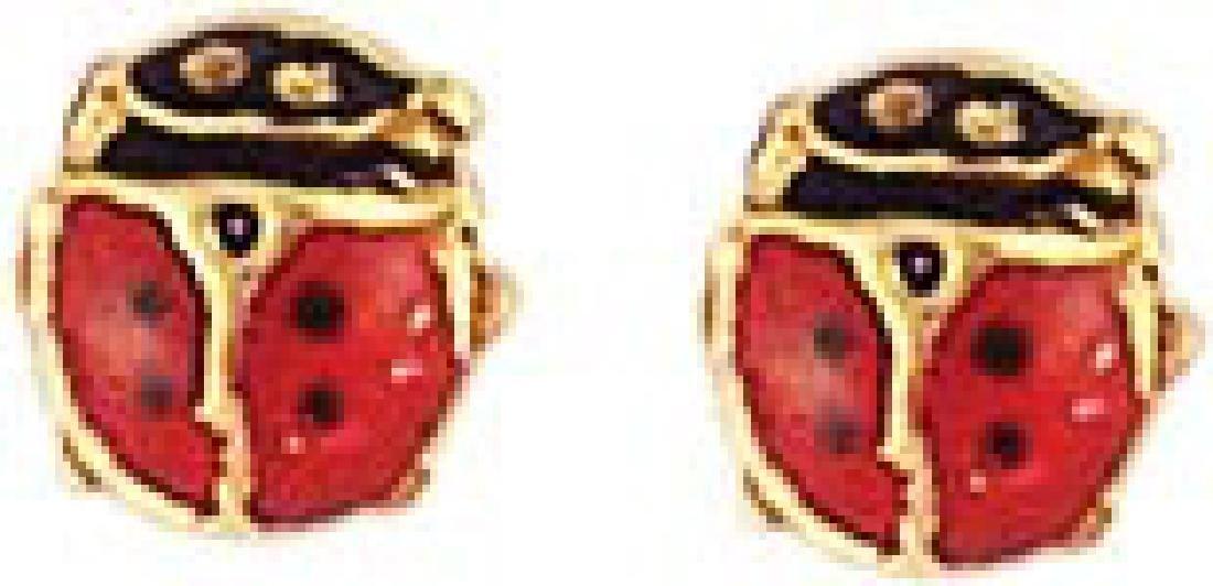 14K Yellow Gold LadyBug Stud Earrings5 MM