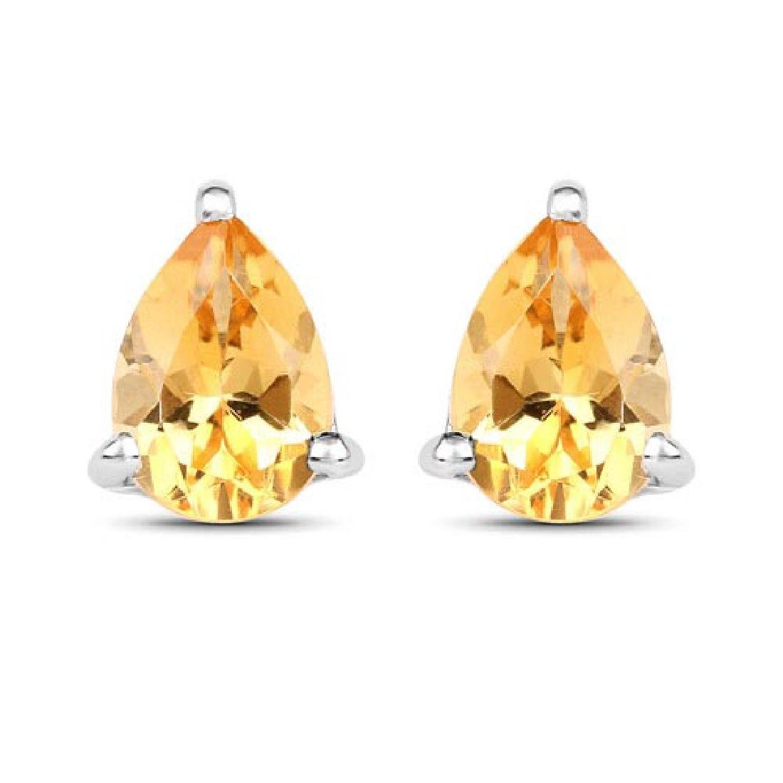 1.18 Carat Genuine Citrine .925 Sterling Silver Earring