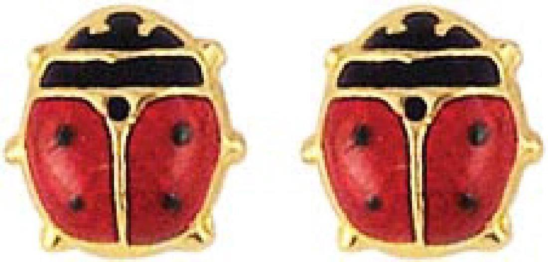 Cute original earrings 14K Yellow Gold Solid LadyBug St