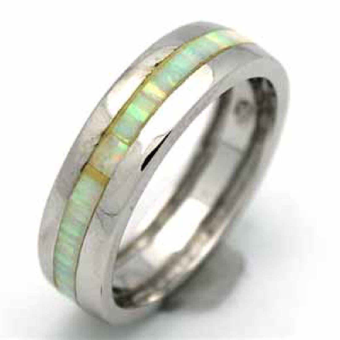 SILVER WHITE OPAL BAND RING