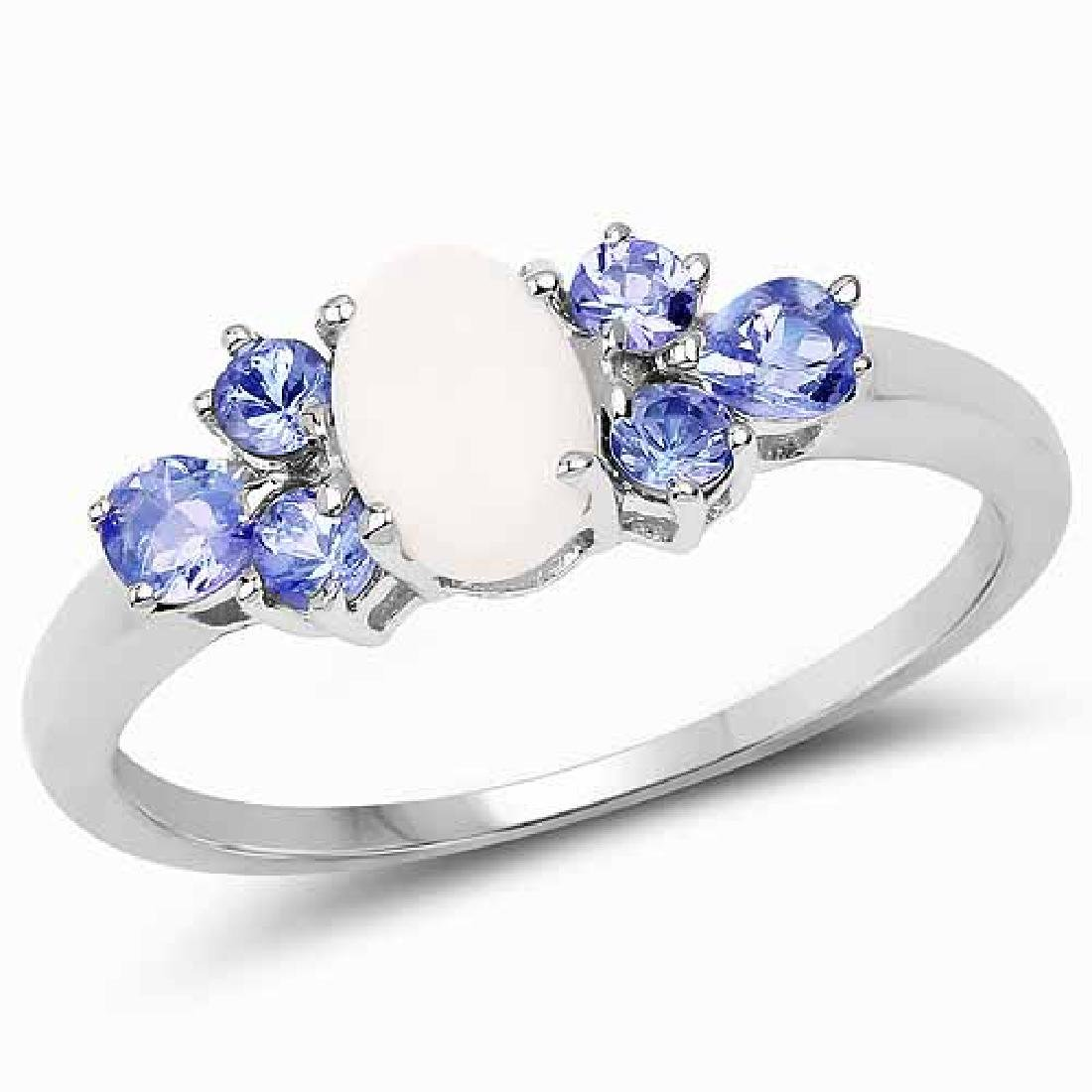 1.07 Carat Genuine Opal and Tanzanite .925 Sterling Sil