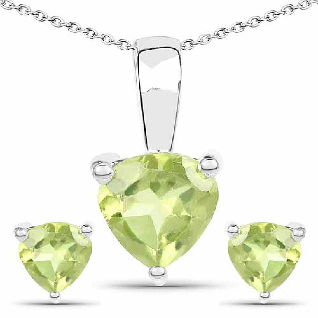 1.20 Carat Genuine Peridot .925 Sterling Silver Jewelry