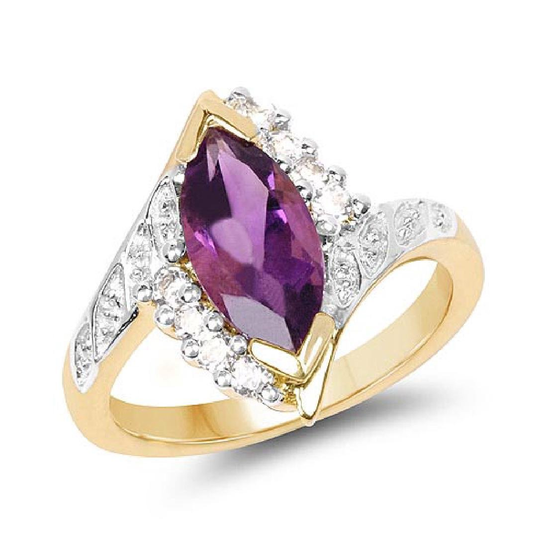 14K Yellow Gold Plated 1.77 Carat Genuine Amethyst and
