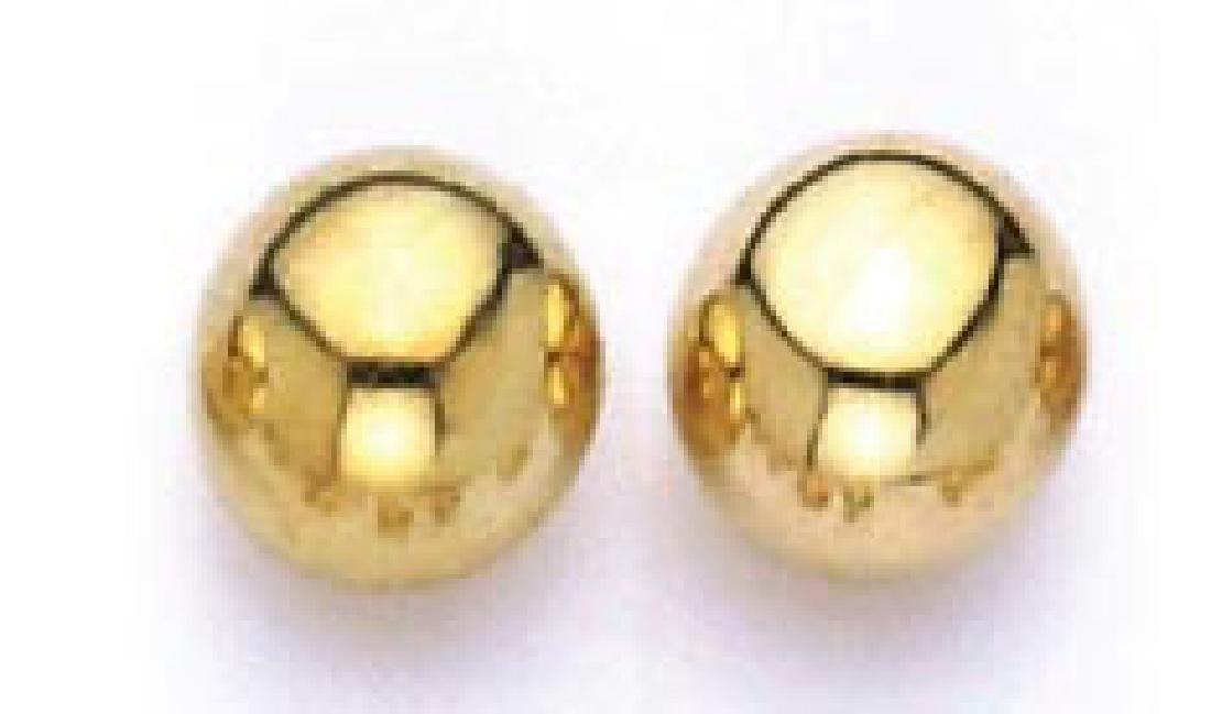 14k Gold Stud Earrings 7 mm
