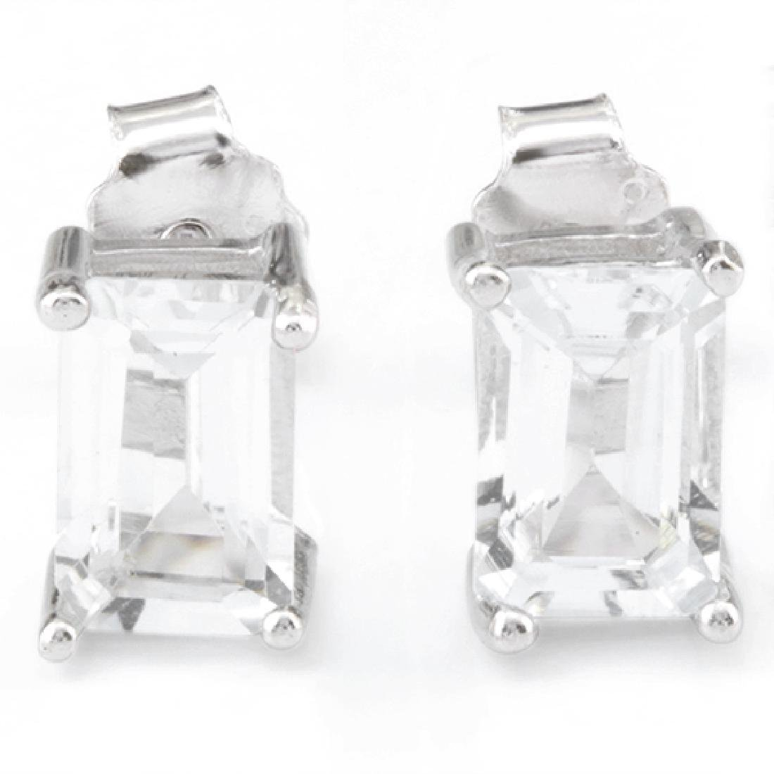 1 1/4 CARAT WHITE TOPAZ 925 STERLING SILVER EARRINGS