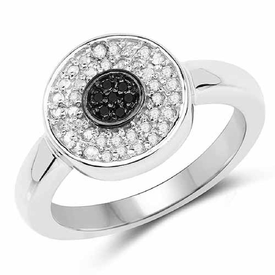 0.20 Carat Genuine Black Diamond and White Diamond .925