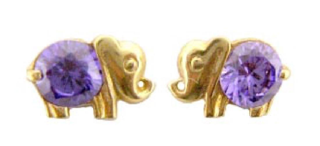 14kGold Elephant CZ Stud Push Back Earrings