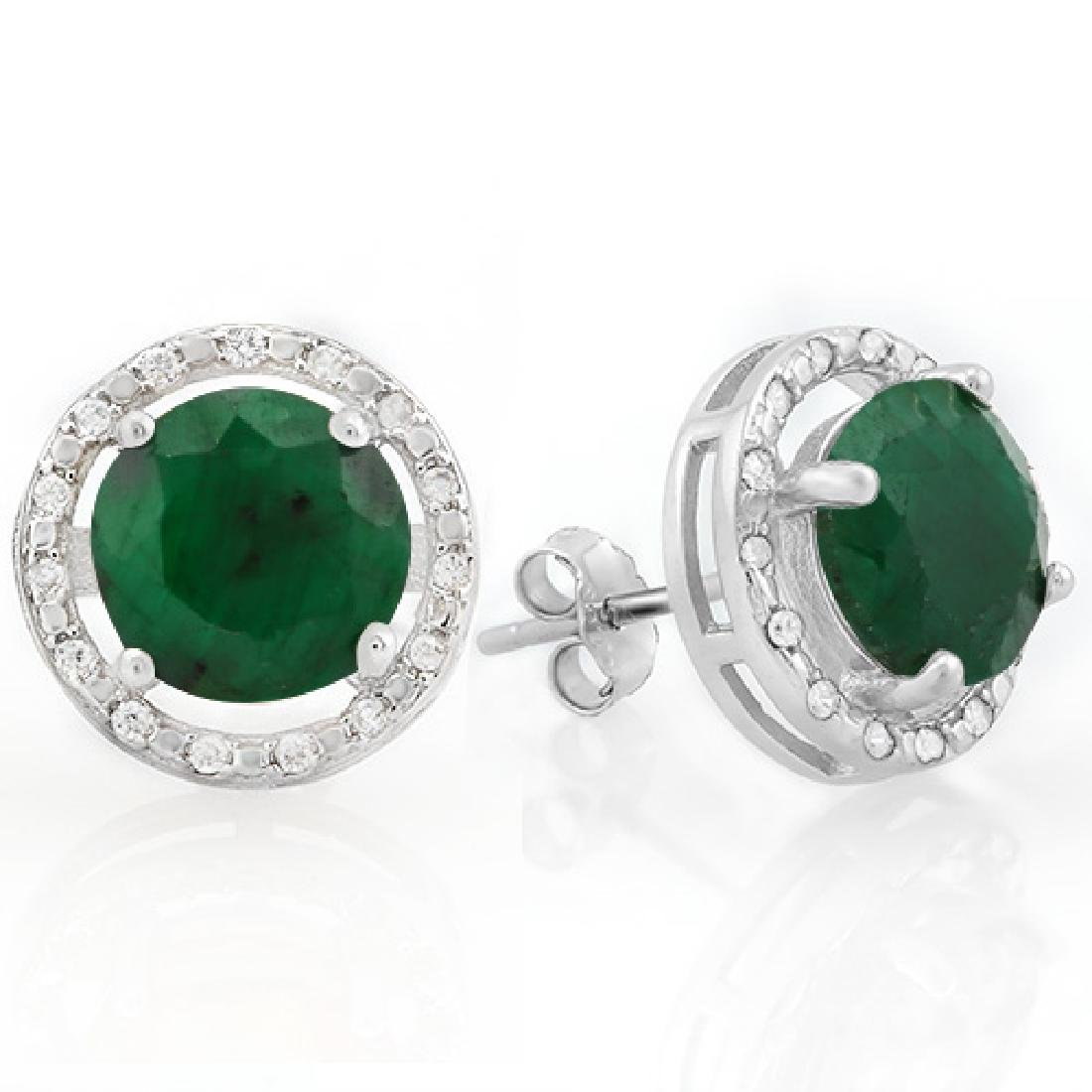 5 1/4 CARAT ENHANCED GENUINE EMERALD & 1/4 CARAT (40 PC