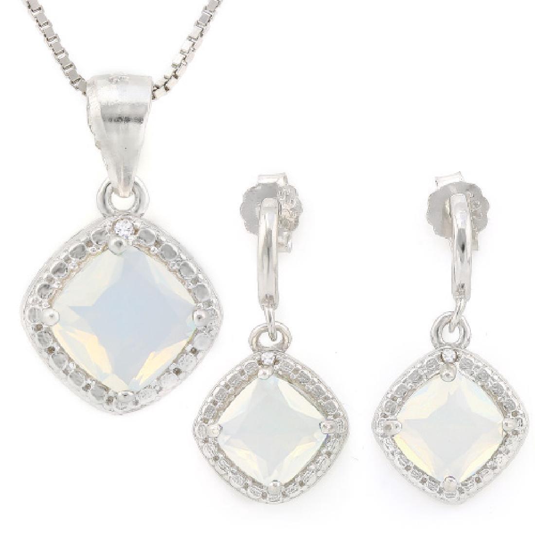 2 4/5 CARAT CREATED FIRE OPALS & GENUINE DIAMONDS 925 S