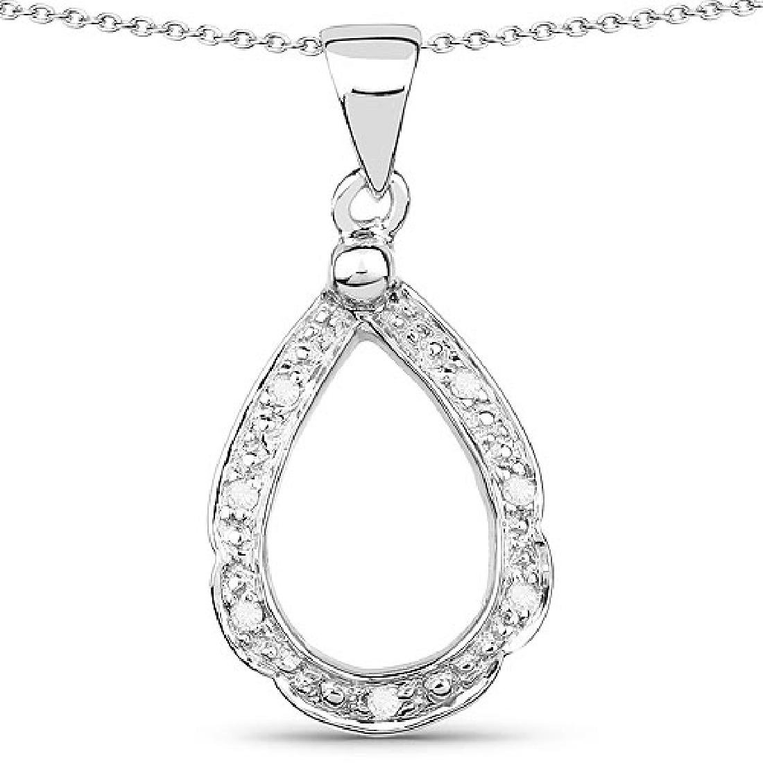 0.06 Carat Genuine White Diamond .925 Sterling Silver P