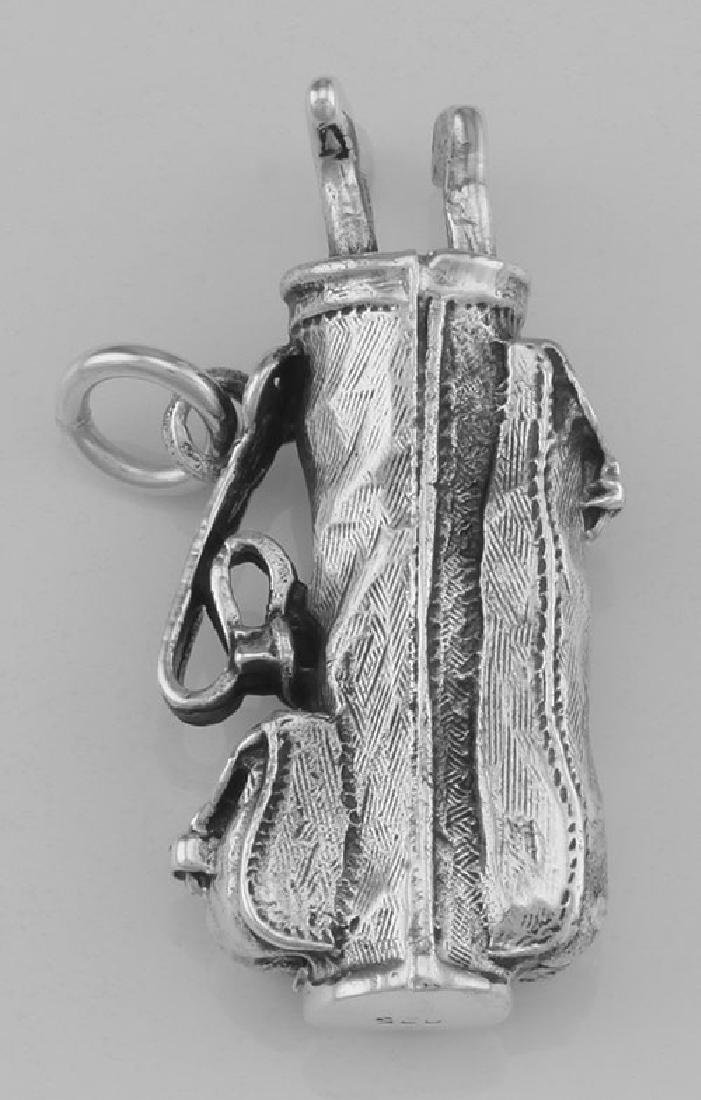 Classic Golf Bag Pendant In Fine Sterling Silver