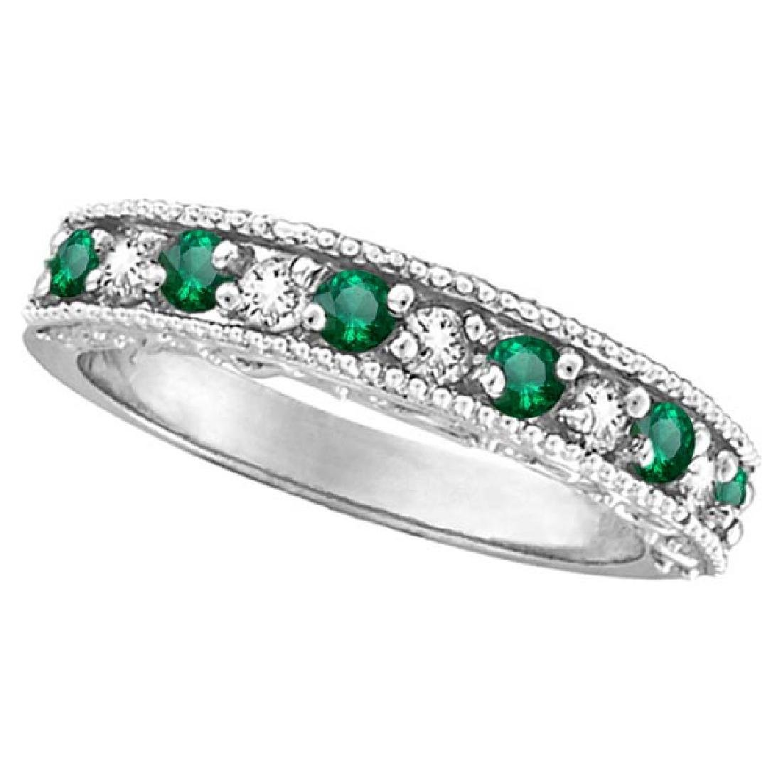 Designer Diamond and Emerald Ring Band in 14k White Gol