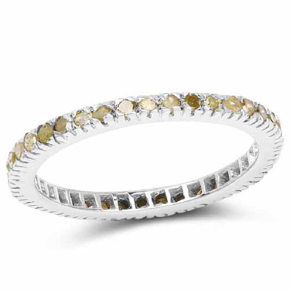 0.57 Carat Genuine Yellow Diamond .925 Sterling Silver