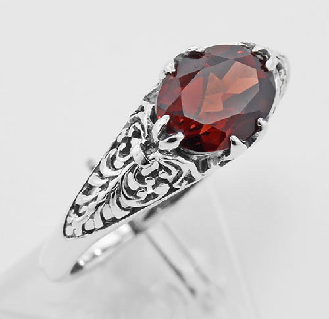 Antique Style Garnet Filigree Ring - Sterling Silver