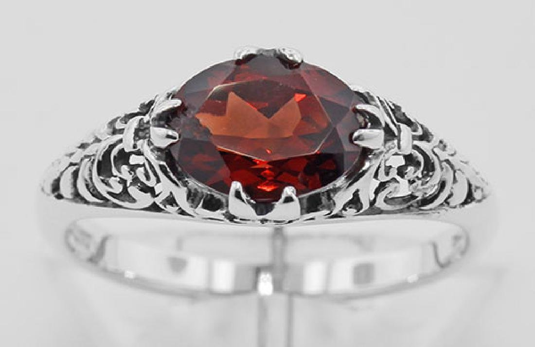 Antique Style Garnet Filigree Ring - Sterling Silver - 2