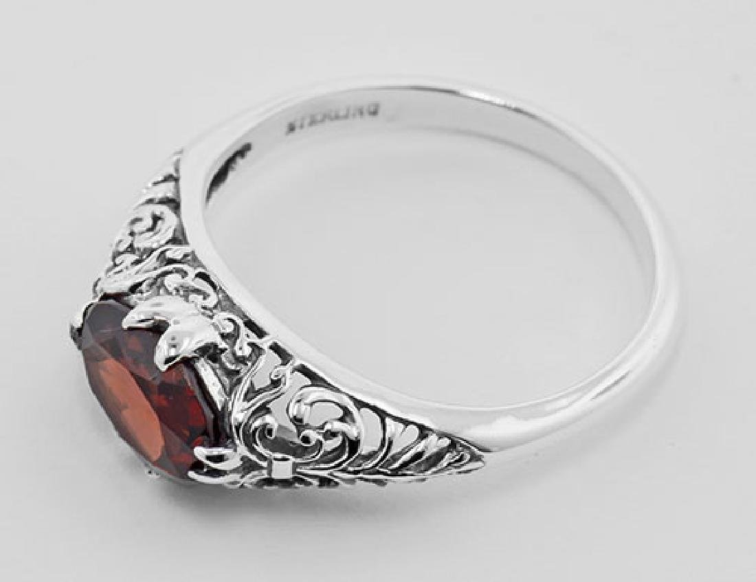 Antique Style Garnet Filigree Ring - Sterling Silver - 3
