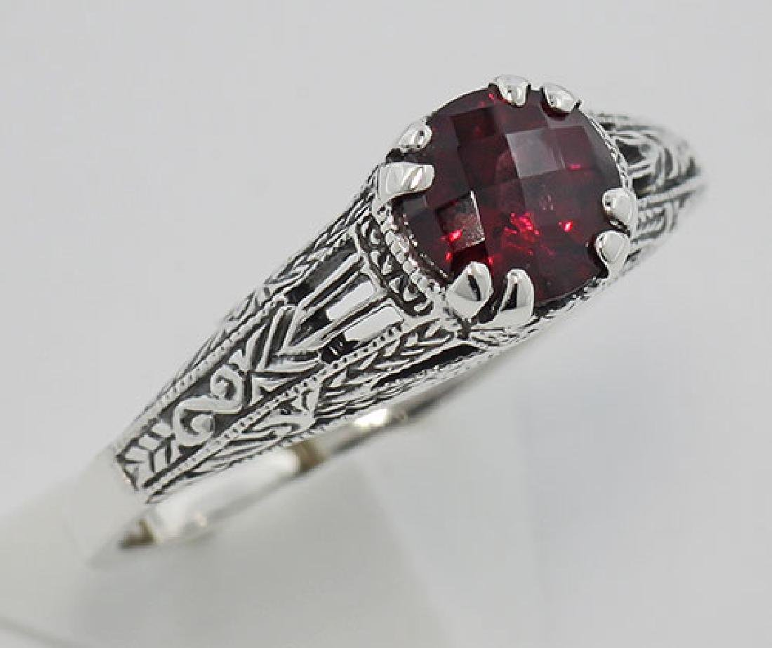 Garnet Filigree Ring - Sterling Silver