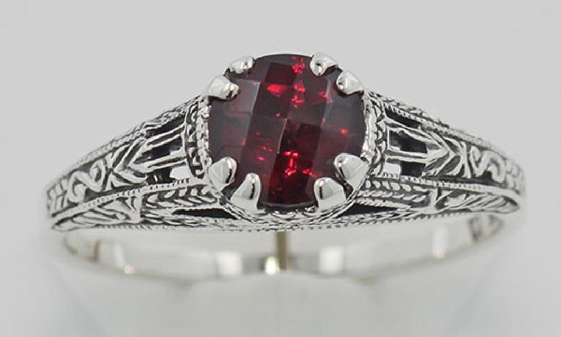 Garnet Filigree Ring - Sterling Silver - 2