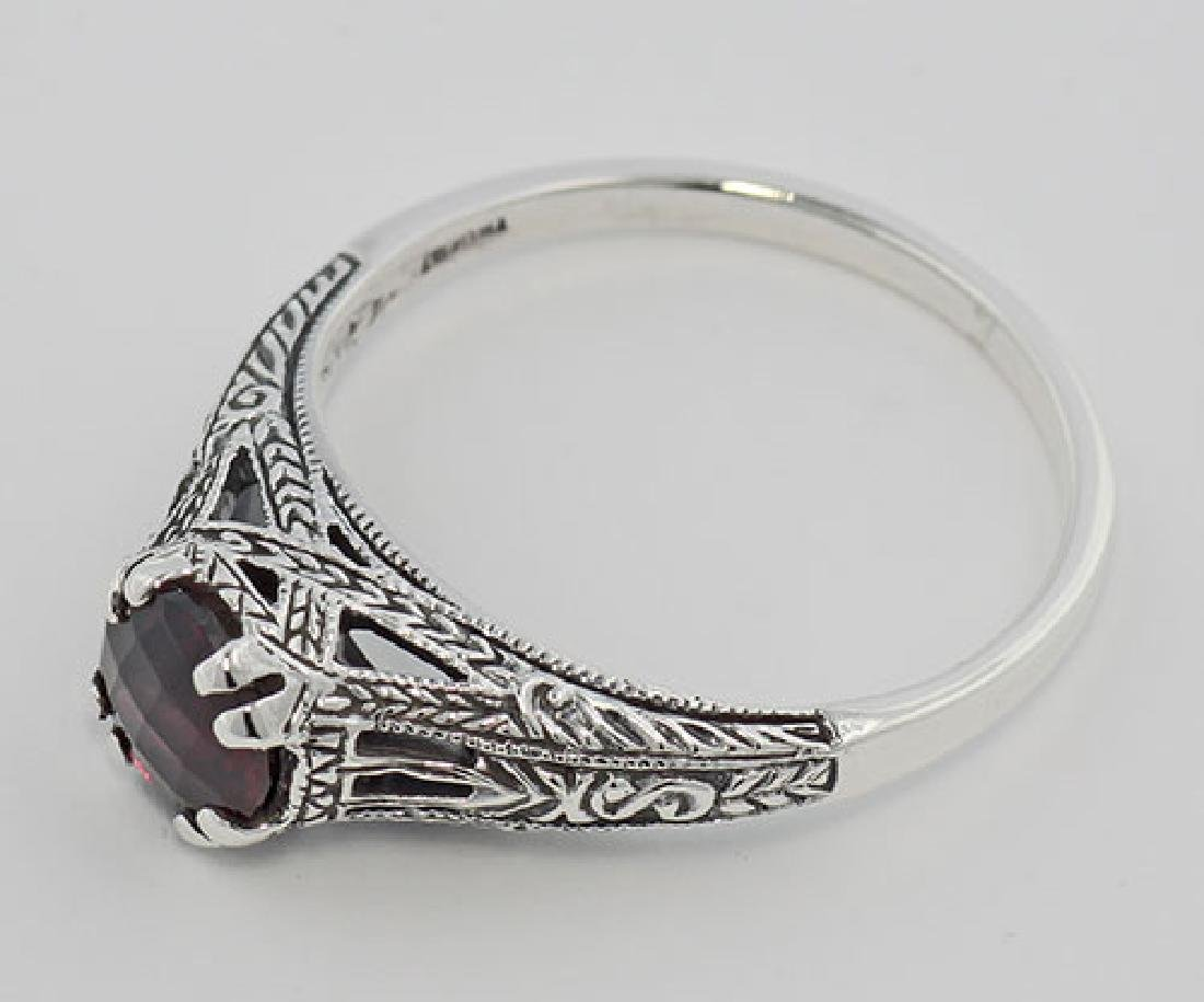 Garnet Filigree Ring - Sterling Silver - 3