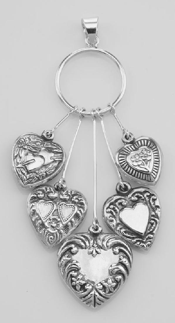 Victorian Style Five Heart Hanging Pendant - Sterling S