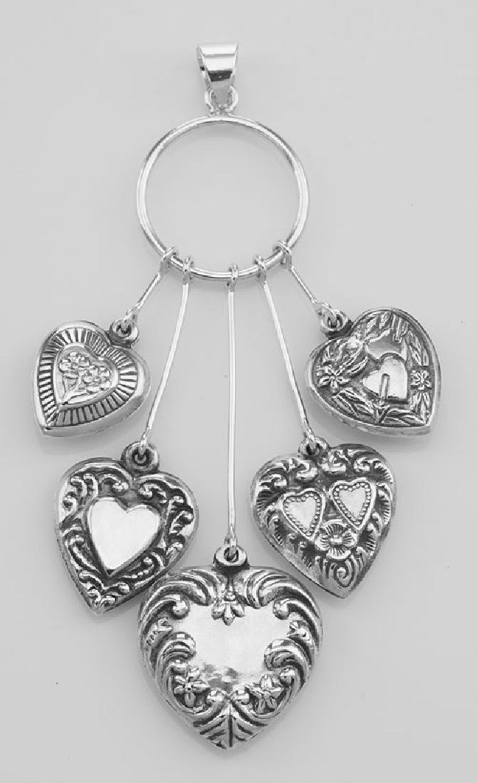 Victorian Style Five Heart Hanging Pendant - Sterling S - 2