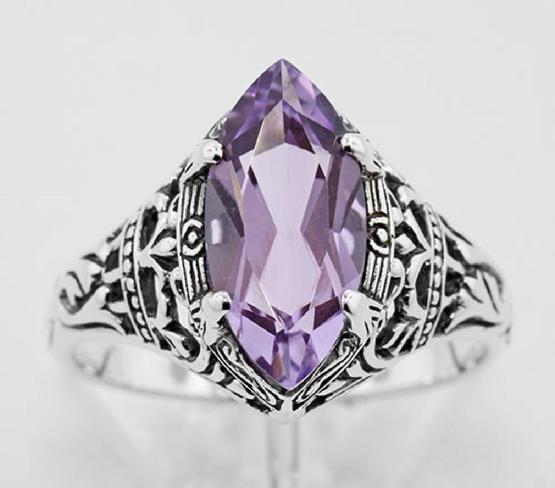 Antique Style Amethyst Filigree Ring - Sterling Silver - 2