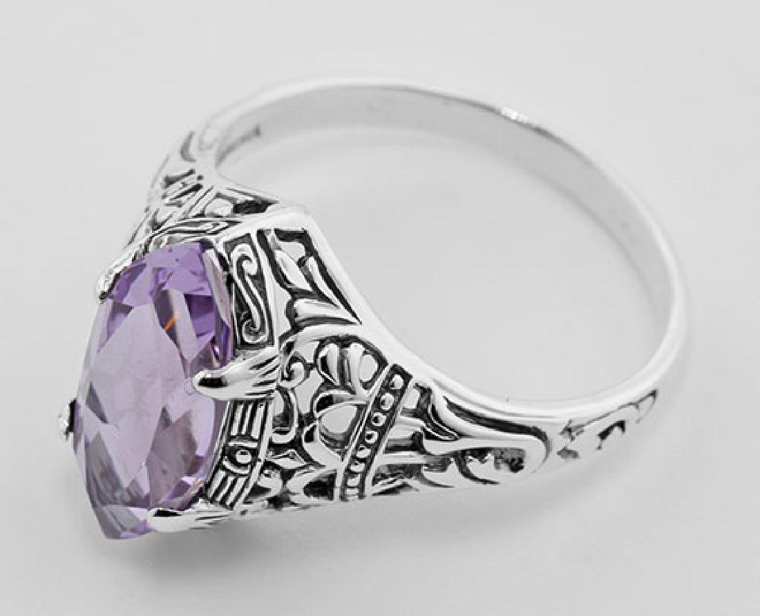 Antique Style Amethyst Filigree Ring - Sterling Silver - 3
