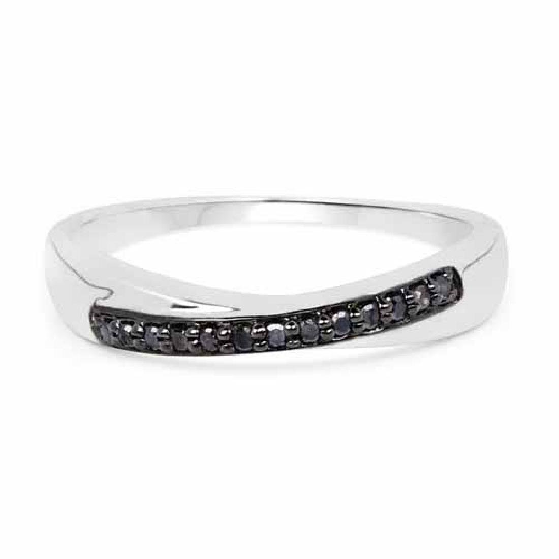 0.09 Carat Genuine Black Diamond .925 Sterling Silver R
