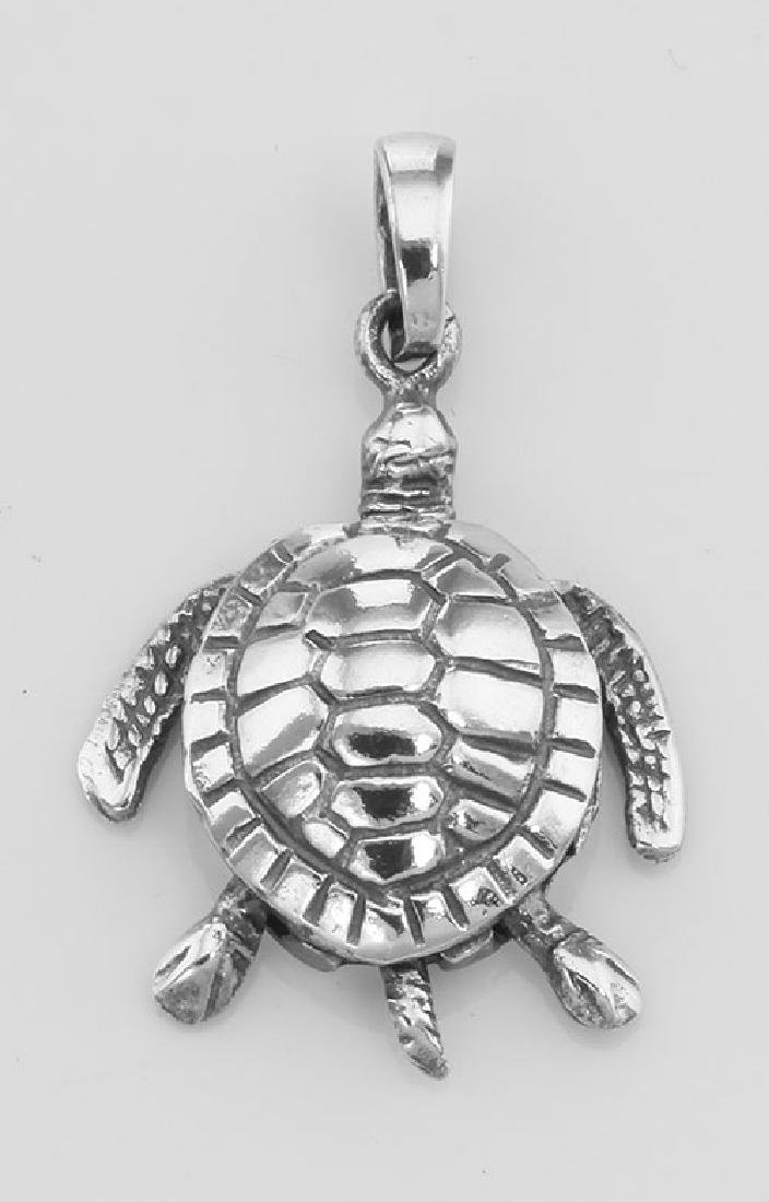 Moveable Sea Turtle Pendant Charm - Movable - Sterling
