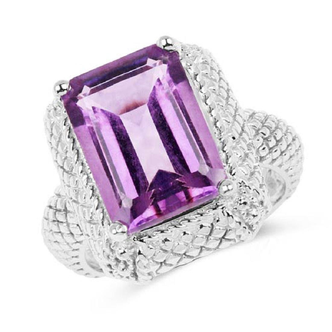 6.54 Carat Genuine Amethyst .925 Sterling Silver Ring