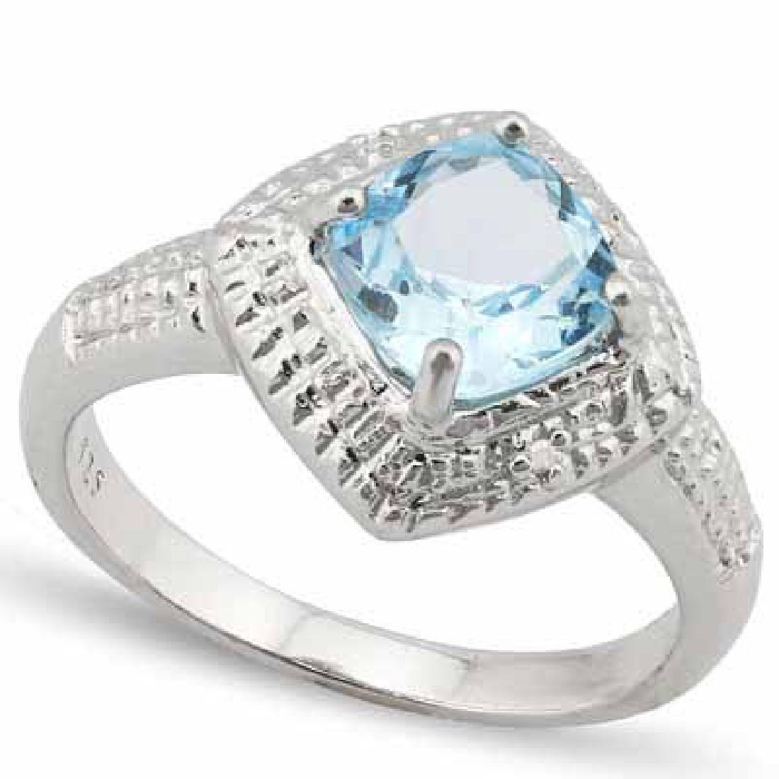1.772 CARAT TW BLUE TOPAZ & GENUINE DIAMOND PLATINUM OV