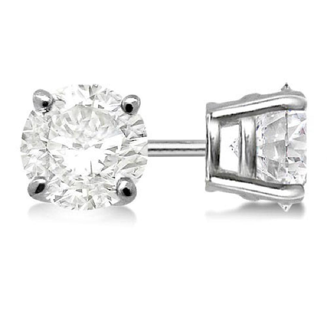 Certified 1.4 CTW Round Diamond Stud Earrings J/SI2