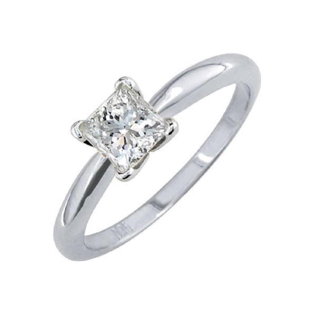 Certified 1.5 CTW Princess Diamond Solitaire 14k Ring D