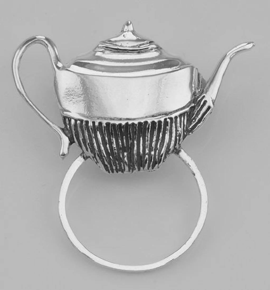 Eyeglass Holder Pin / Eye Glass Loop Brooch Tea Pot - S