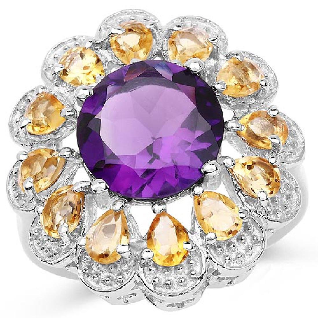 5.37 Carat Genuine Amethyst and Citrine .925 Sterling S