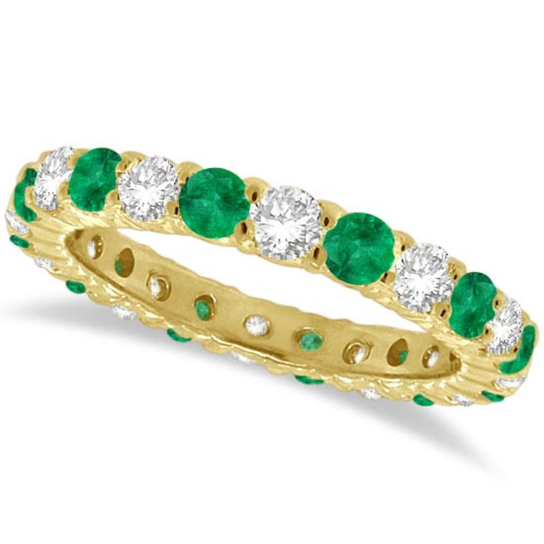 Emerald and Diamond Eternity Ring Band 14k Yellow Gold