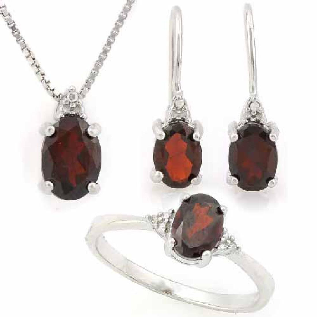 3 3/5 CARAT GARNET & DIAMOND 925 STERLING SILVER SET